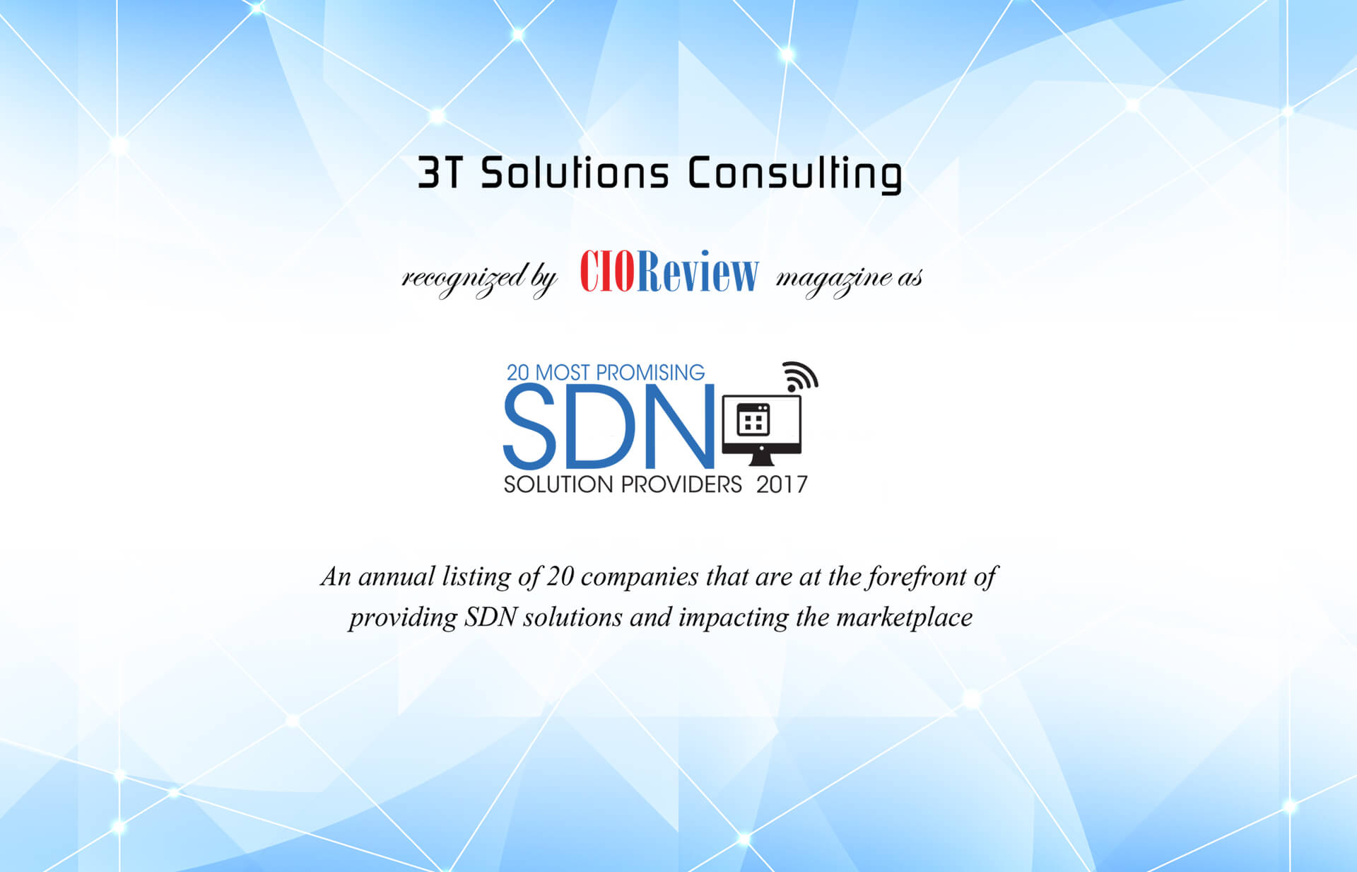 3T Solutions Consulting CIO Award